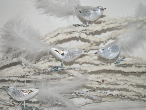 Winterzauber - Glasvogel mit Federn 4fach
