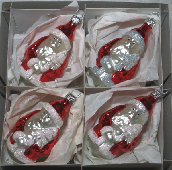 Weihnachtsmann rot /silber 4er Set