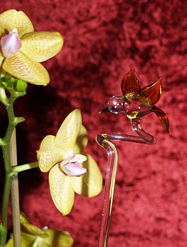 Orchideenstab mit Vogel gold und kristall Blumenstab