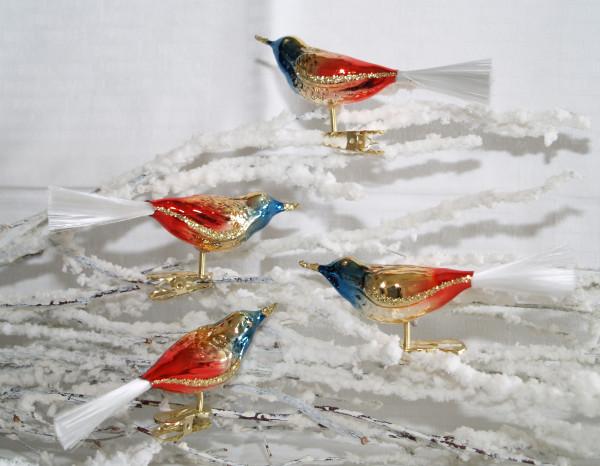 Glasvogel Regenbogen blau mit Glasschwanz 4Stück per Box