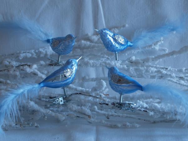 Glasvogel 4fach eisblau mit Federn