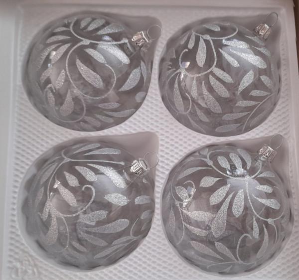 Barock kristall silber 8cm Kugel 4er Set