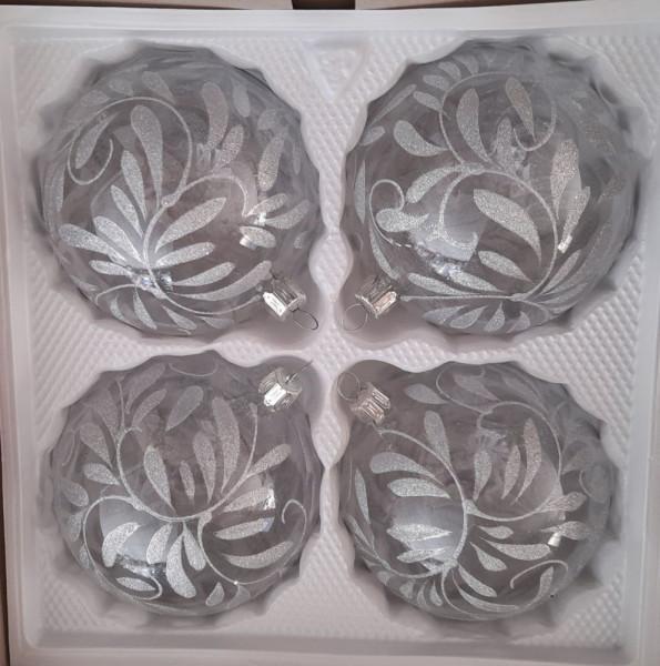 Barock kristall silber 10cm Kugel 4er Set