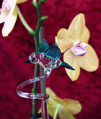 Orchideenstab mit Vogel blau und kristall Blumenstab