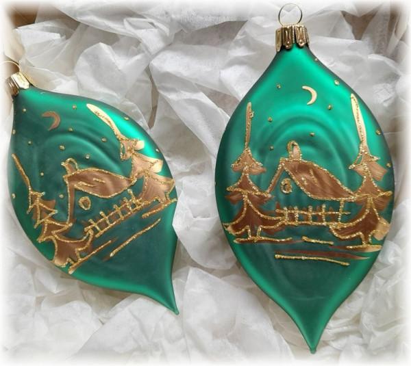 Taler oval grün/gold