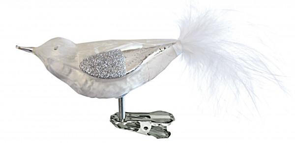 Glasvogel mit Federn 4fach eisweiß/silber