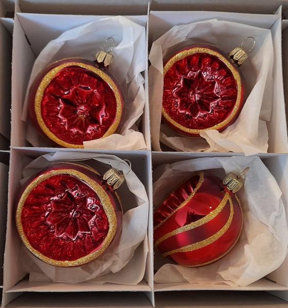 Bordeaux glanz mit gold Ranke - Reflexkugel 4er Set