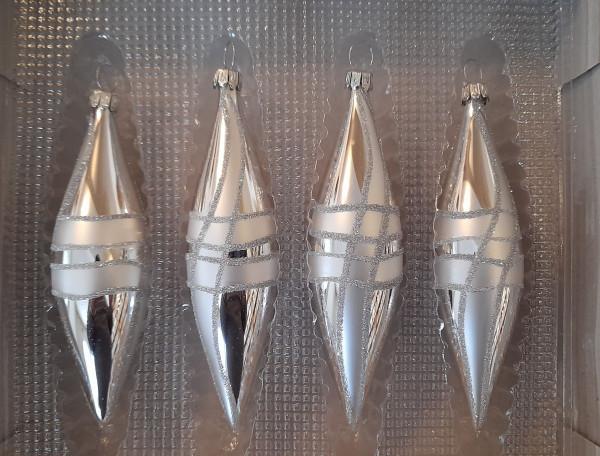 Olive 4er Set silber mit Streifen
